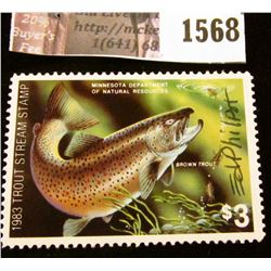 1568 . 1983 Minnesota Trout Stream $3 Stamp. Mint, NH, Artist signe