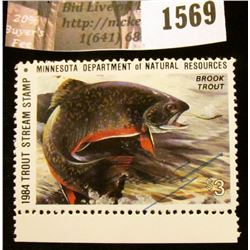 1569 . 1984 Minnesota Trout Stream $3 Stamp. Mint, NH, Artist signe