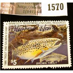 1570 . 1986 Minnesota Trout Stream $5 Stamp. Mint, NH, Artist signe