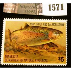 1571 . 1987 Minnesota Trout and Salmon $5 Stamp. Mint, NH, Depicts