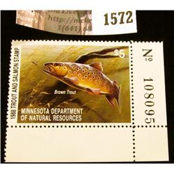 1572 . 1988 Minnesota Trout and Salmon $5 Stamp. Mint, NH, Depicts