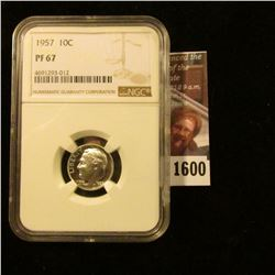 1600 . 1957 Roosevelt Dime Graded Proof 67 By NGC