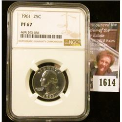 1614 . 1961 P Proof Washington Quarter Graded Proof 67 By NGC
