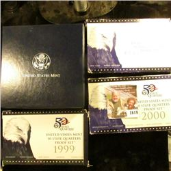 1619 . 1999 S, 2000 S, And 2001 S Proof Clad State Quarter Sets.  T