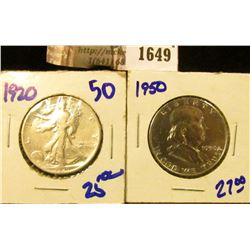 1649 . 1920 Walking Liberty Half Dollar and 1950 Franklin Half Doll