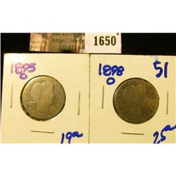 1650 . 1895-O and 1898-O Barber Quarters