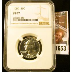 1653 . 1959 Washington Quarter Graded Proof 67 By NGC