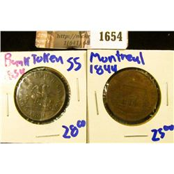 1654 . Montreal Canada 1844 Half Penny Bank Token and 1854 Bank Of