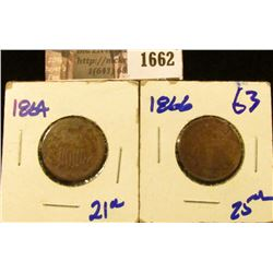 1662 . 1864 and 1866 Two Cent Pieces
