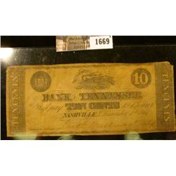 1669 . Civil War Era Bank Note From The Bank Of Tennessee.  This No