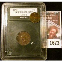 1673 . High Grade 1872 Indian Head Penny.  The Coin Has Full Libert