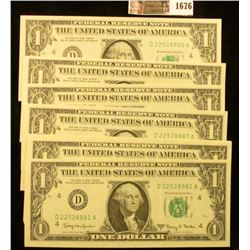 1676 . 10 Crisp and Consecutive 1963-A One Dollar Notes