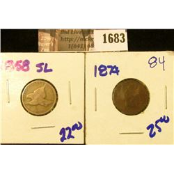 1683 . 1858 Small Letters Flying Eagle Cent and 1874 Semi Key Date