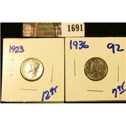 1691 . 1923 P and 1936 P Mercury Dimes