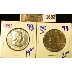 1692 . 1951 P and 1952-D Franklin Half Dollars