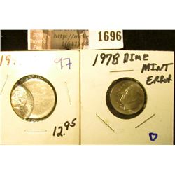 1696 . Two Error Coins Includes 1999-D Jefferson Nickel and 1978 Ro