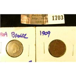 1703 . 1864 and 1909 Indian Head Cent