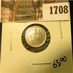 1708 . 1853 Seated Half Dime With Arrows.  This Coin Has Full Rims
