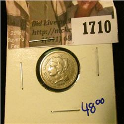 1710 . Upgrade 1869 Three Cent Nickel With A Rotated Reverse