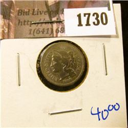 1730 . Better Grade Three Cent Nickel With Rotated Reverse
