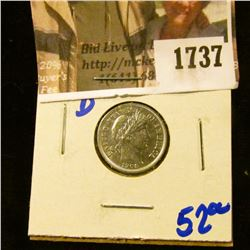 1737 . 1908-D Barber Dime With Full Rims With Cartwheels Visible an