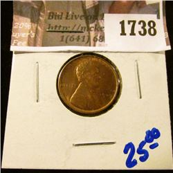 1738 . Beautiful High Grade 1909 P Wheat Cent