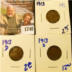 1740 . 1913, 1913-D, and 1913-S Wheat Cents