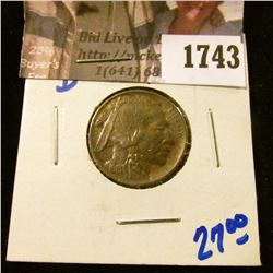 1743 . 1913-D Type 1 Buffalo Nickel Will Full Horn and Rotated Reve