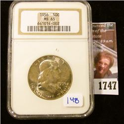 1747 . 1956 Franklin Half Dollar Certified By NGC As MS 65