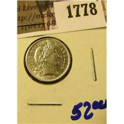 1778 . 1909 Barber Dime With Full Rims With Cartwheels Visible and