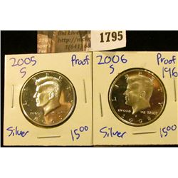 1795 . 2005-S and 2006-S Silver Proof Kennedy Half Dollars