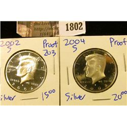 1802 . 2002-S and 2004-S Silver Proof Kennedy Half Dollars