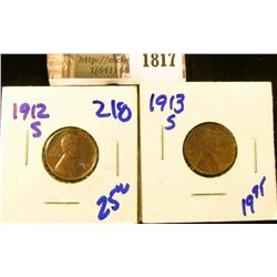 1817 . Better Grade 1912-S and 1913-S Wheat Cents