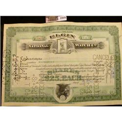 "1819 . July 30th, 1927 Stock Certificate for 20 Shares ""Elgin Natio"