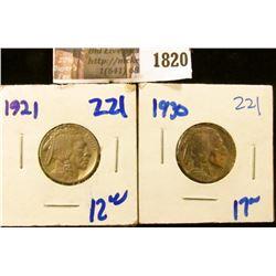 1820 . 1921 and 1930 Buffalo Nickels