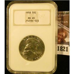 1821 . 1958 Franklin Half Dollar Graded Ms 65 By NGC