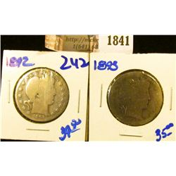 1841 . 1892 and 1893 Barber Half Dollars