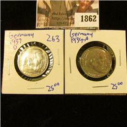 1862 . 1937-D and 1939-A Silver German 2 Mark Coins.  They Both Gav