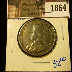 1864 . Canada 1918 Silver Half Dollar With King George Of England O