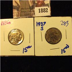 1882 . 1936 and 1937-S Buffalo Nickels