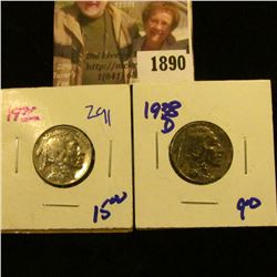 1890 . 1936 and 1938-D Buffalo Nickels