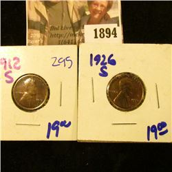 1894 . 1926-S and 1912-S Semi Key Date Wheat Cents