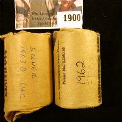 1900 . 1962 P Original Gem BU Bank-wrapped Roll of Franklin Half Do