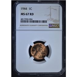 1944 LINCOLN CENT, NGC MS-67 RED