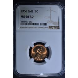 1966 SMS LINCOLN CENT NGC MS68 RD
