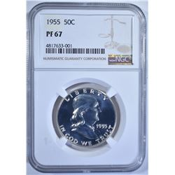 1955 FRANKLIN HALF DOLLAR, NGC PF-67