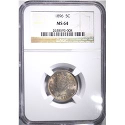 1896 LIBERTY NICKEL, NGC MS-64