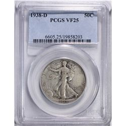1938-D WALKING LIBERTY HALF DOLLAR, PCGS VF-25