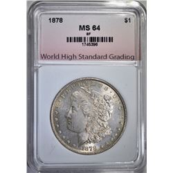 1878 8F MORGAN DOLLAR, WHSG CH/GEM BU