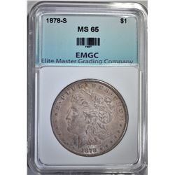 1878-S MORGAN DOLLAR,EMGC GEM BU